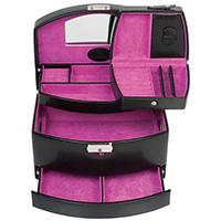 Шкатулка WindRose Merino  для украшений черного цвета с розовой внутренней отделкой, фото