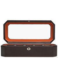 Шкатулка для часов Wolf 1834 коричневого цвета с оранжевой отделкой, фото