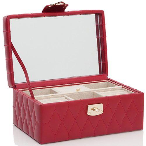 Стеганая шкатулка для украшений Wolf 1834 из кожи красного цвета, фото