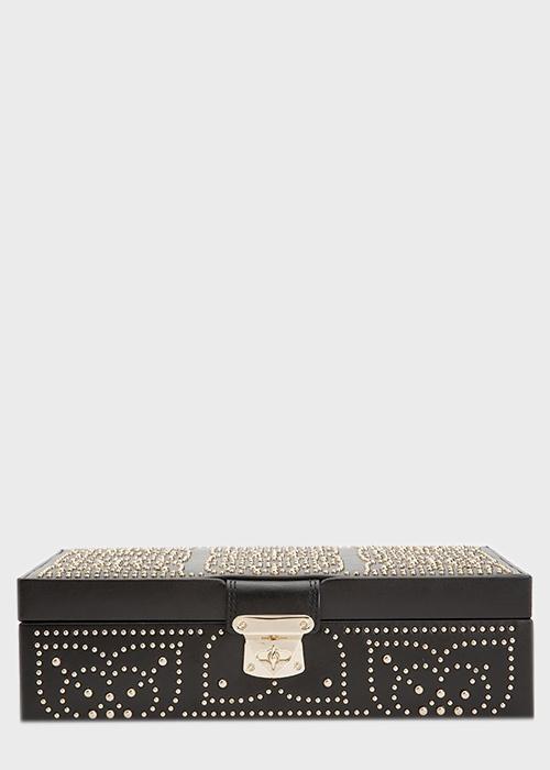 Шкатулка для хранения украшений Wolf 1834 Marrakesh черного цвета с узором из позолоченных заклепок