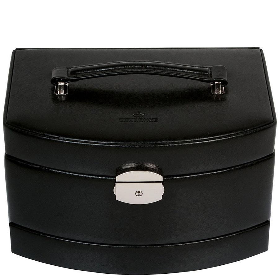 Шкатулка WindRose Merino  для украшений черного цвета с розовой внутренней отделкой