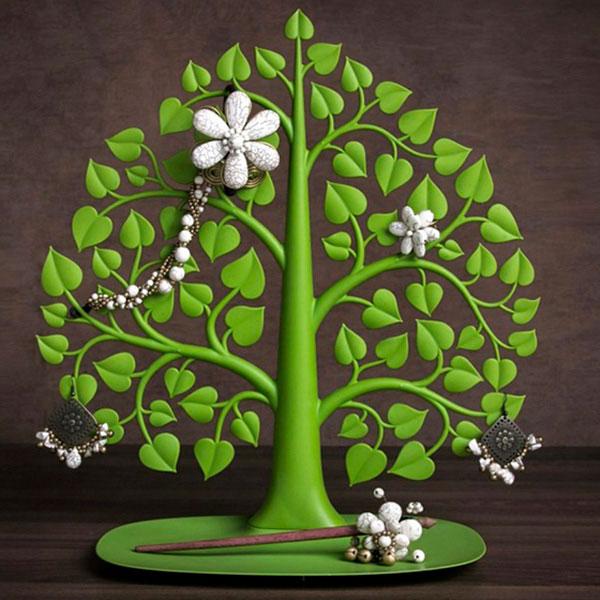 Подставка для украшений и аксессуаров Qualy Дерево бодхи зеленого цвета