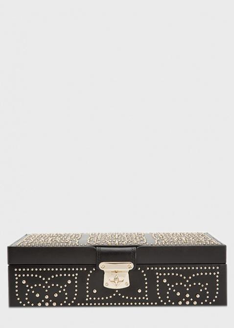 Шкатулка для хранения украшений Wolf 1834 Marrakesh черного цвета с узором из позолоченных заклепок, фото