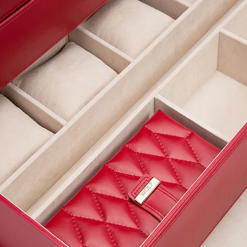 Красная шкатулка Wolf 1834 Caroline Large для хранения часов и украшений, фото