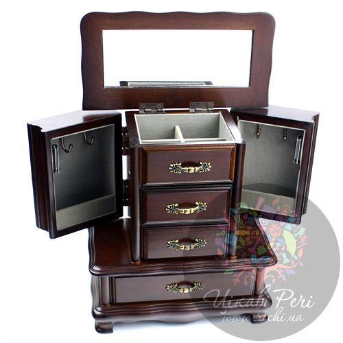 Шкафчик для украшений с креплением для цепочек и выдвижными ящичками, фото