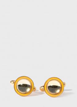 Позолоченные запонки Lalique с желтым хрусталем, фото