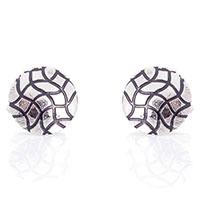 Серебристые запонки Predan круглой формы с рельефными волнистыми линиями, фото