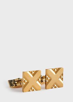 Запонки S.T.Dupont позолоченные с крестообразной гравировкой, фото