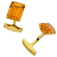 Запонки S.T.Dupont с желтыми кристаллами, фото
