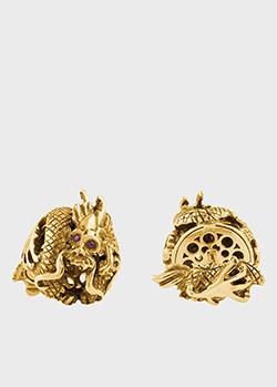 Запонки из желтого золота Montegrappa Dragon Limited Edition с рубинами, фото
