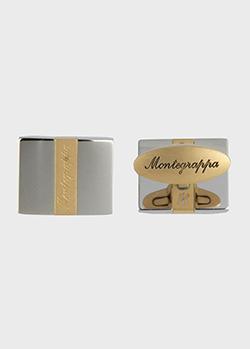 Прямоугольные запонки Montegrappa Rettangolo с позолотой, фото