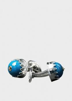 Серебряные запонки Montegrappa NeroUno с синей вставкой, фото