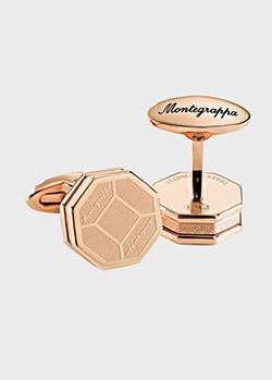 Позолоченные запонки Montegrappa Tripudio с узором-гравировкой, фото