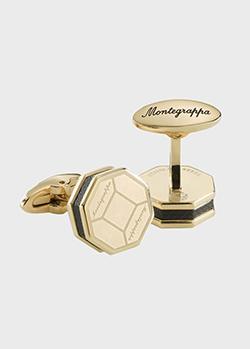 Восьмиугольные запонки Montegrappa Tripudio с позолотой, фото