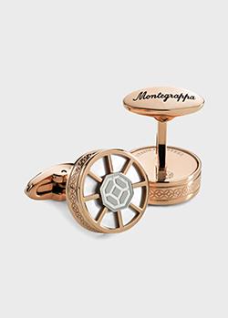 Стальные запонки Montegrappa Wheel с позолотой, фото