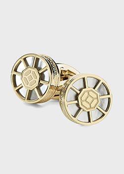 Запонки с перламутром Montegrappa Wheel с покрытием из желтого золота, фото