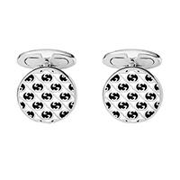 Круглые серебряные запонки Gucci Silver Others с эмалированным черно-белым рисунком, фото