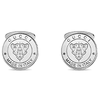 Круглые серебряные запонки Gucci с выгравированным гербом, фото