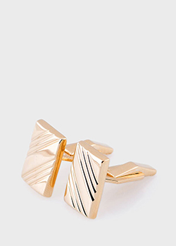 Прямоугольные запонки из желтого золота, фото