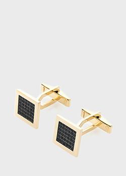 Золотые запонки с черными фианитами, фото