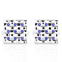 Запонки Jewels квадратные с круглыми синими кристалликами, фото