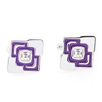 Запонки Jewels стального цвета с кристаллами Сваровски и фиолетовой эмалью, фото