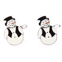 Запонки Jewels с цветной эмалью в виде снеговиков, фото