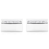 Запонки Jewels серебристые прямоугольной формы с рядом кристаллов, фото