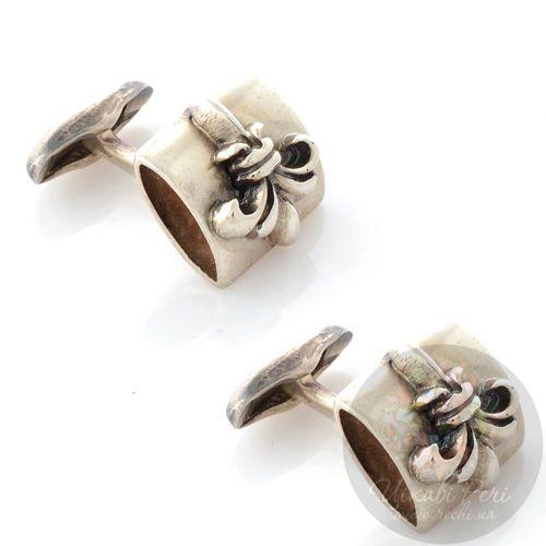 Серебряные запонки ElfCraft с французскими лилиями, фото