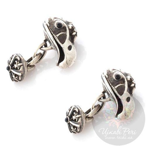Запонки ElfCraft серебряные с ониксом, фото