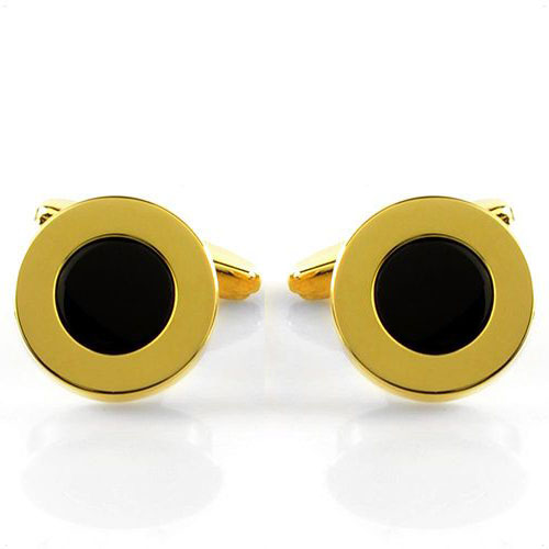 Запонки Avanzo Daziaro круглые позолоченные с ониксом, фото