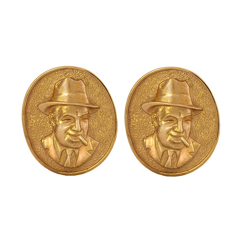 Серебряные запонки Silver Joy Аль Капоне в позолоте, фото