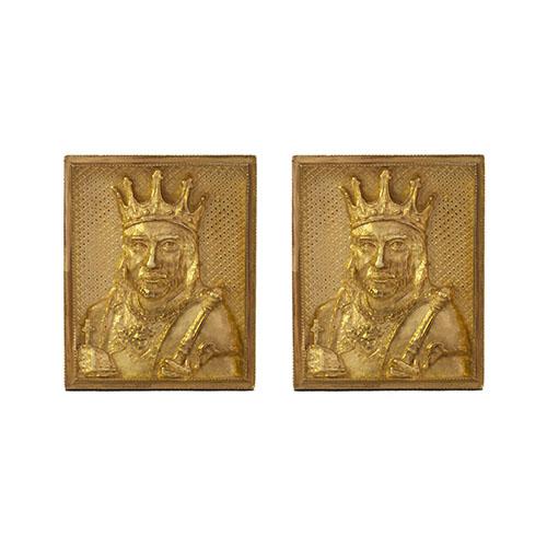 Позолоченные запонки Silver Joy Английский король Альфред Великий, фото