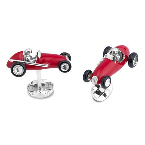 Запонки Deakin&Francis Silver Красный гоночный автомобиль, фото