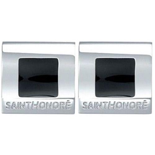 Запонки Saint Honore Cufflink C18 2N стальные с черной лакированной вставкой, фото