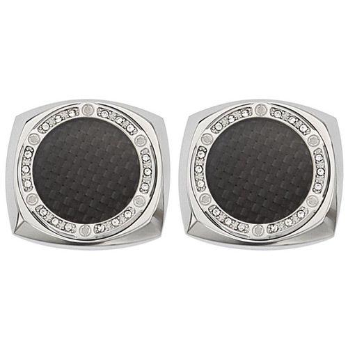 Запонки Saint Honore Cufflink C31 1NCZ с карбоновой вставкой обрамленной камнями, фото