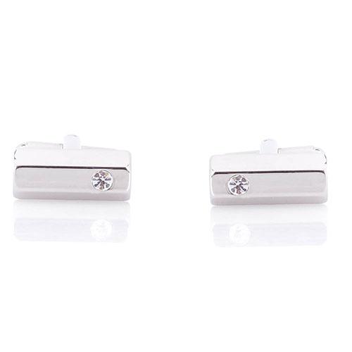 Серебристые запонки Predan с кристаллом Сваровски, фото