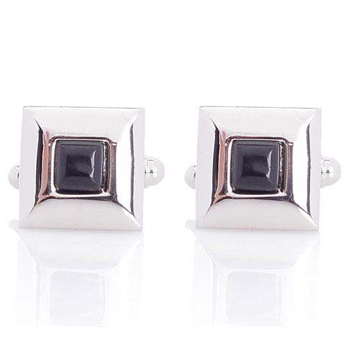 Запонки Predan квадратной формы со вставкой черного цвета, фото