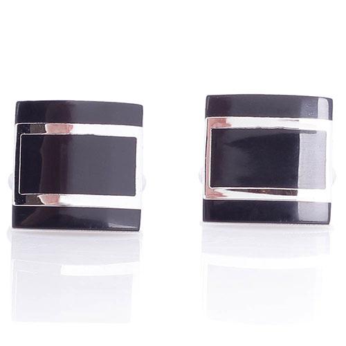 Запонки Predan квадратной формы с черной эмалью, фото