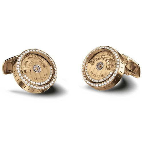 Механические запонки с бриллиантами Milus Joaillerie из розового золота, фото