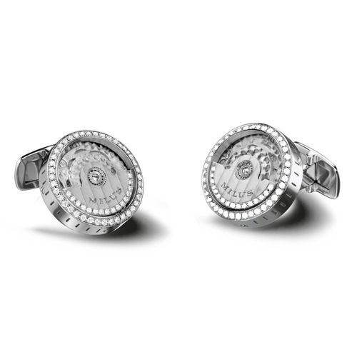 Механические запонки с бриллиантами Milus Joaillerie из белого золота, фото
