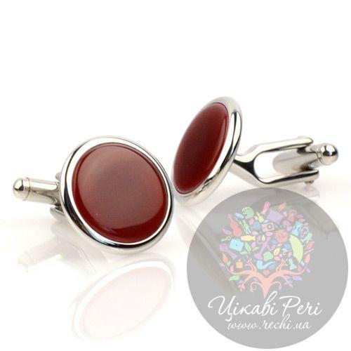 Запонки Dalvey Button Small с красным ониксом, фото