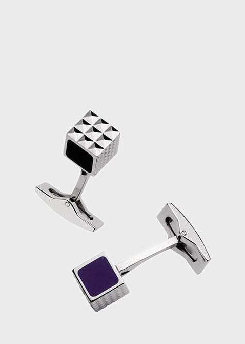 Запонки S.T.Dupont кубические с черными и фиолетовым лаком, фото