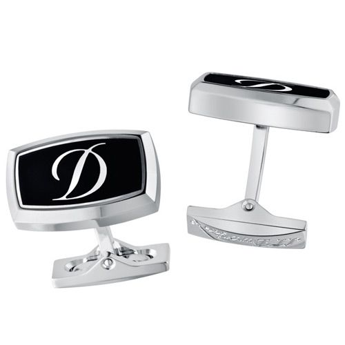 Запонки S.T.Dupont Etiquette с черным бархатным лаком и клеймом D, фото