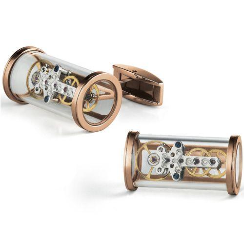 Запонки TF Est. 1968 T-Mechanic Openside в розовом золоте скелетоны с движущимся механизмом, фото