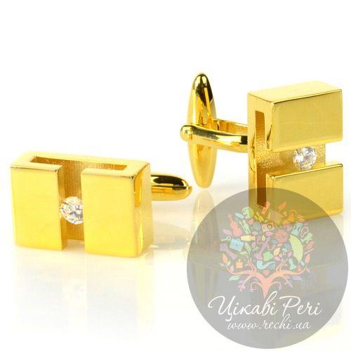 Запонки Guepard прямоугольной формы в желтом золоте с фианитами, фото