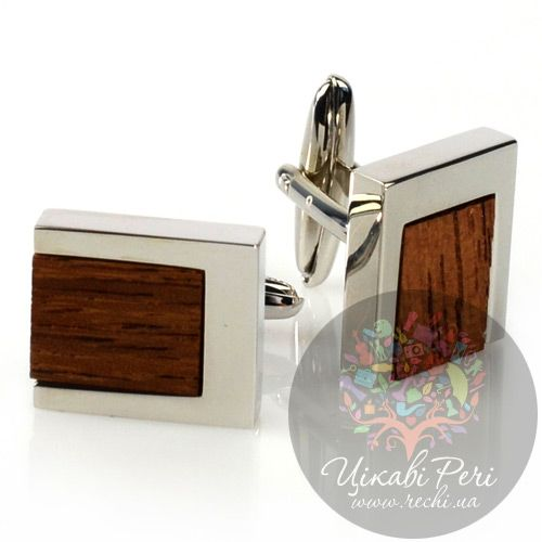 Запонки Guepard прямоугольной формы со стильными вставками из дерева, фото