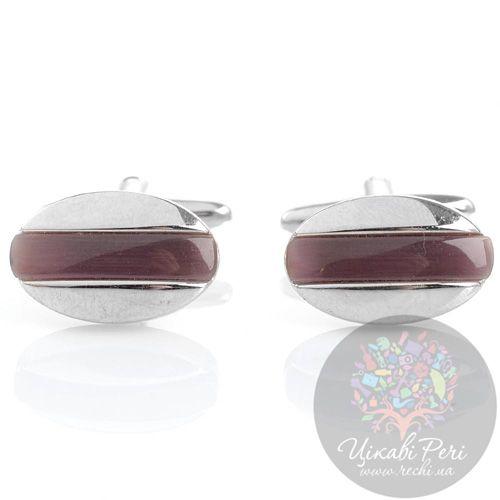 Запонки Guepard серебряного цвета овальные с яшмой , фото