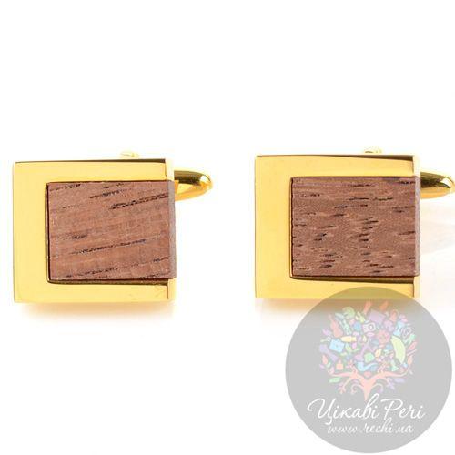 Запонки Guepard квадратные золотого цвета с вставками дерева, фото