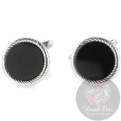 Запонки Guepard серебряного цвета круглые с ониксом, фото